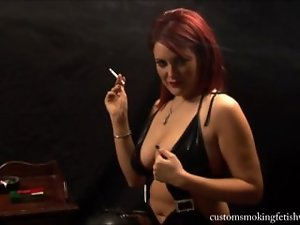 Dominant redhead smoking and teasing