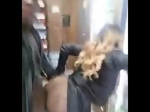 Black couple having sex in the store