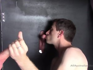 Two Nice Australian Lads Getting A Blow Job Through Glory Holes