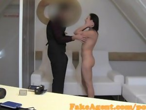 FakeAgent Raven haired cutie gets her shaven quim covered in spunk