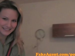 FakeAgent Filthy blondie amateur bangs on her period in Casting interview