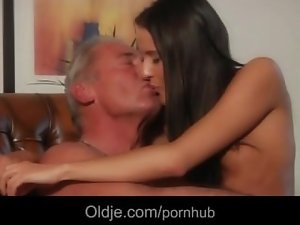 Older man lured for fuck by a fallen angel young lady in her apartament