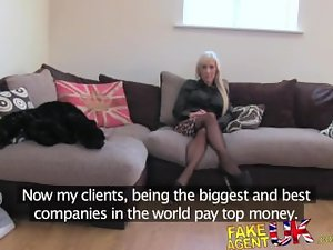 FakeAgentUK Casting couch sees English glamour actress try some butthole sex