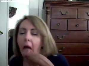 Tempting blonde mummy strokes penis