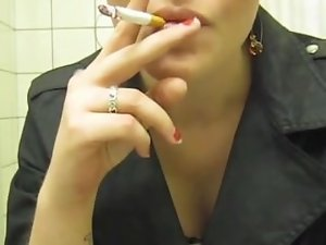 Sexual sensual russian cutie smoking. Thick exhales.