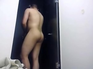 Amateur fellow on the locker room shower 1. (hidden cam)