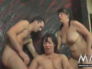 MMV FILMS Amateur Attractive mature Crazy threesome action with his BF slutty wife
