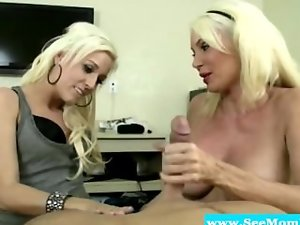 Buxom light-haired Mum drools on black prick