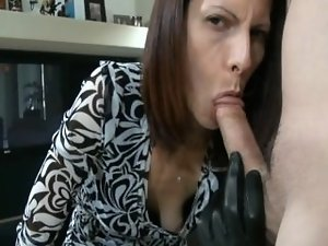 Leather gloved dick sucking