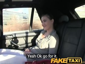FakeTaxi Ebony haired lassie loves taxi driver penis