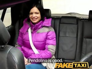 FakeTaxi Black haired hussy let's cabbie cum on her knockers