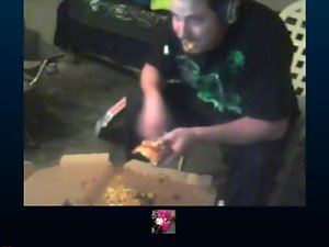 Man gets filthy with 3 pizzas and doritos