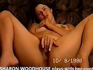 English slutty wife SHARON WOODHOUSE fingers her very hairy pussy
