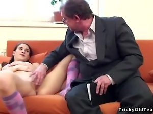 Tricky Older Teacher - Aged teacher bangs a bad student brutal
