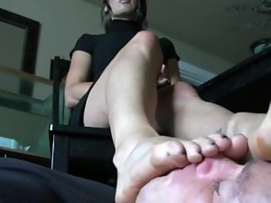 Cool office foot worship