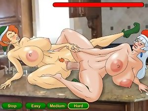 Hentai sex game Ms. Claus lesbo horny sex