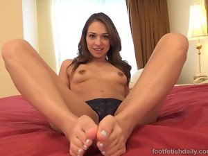 Alluring Dark haired Has Toes Licked and Receives Several cock