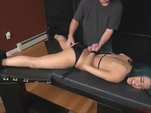 Samantha hands tied different position tickling