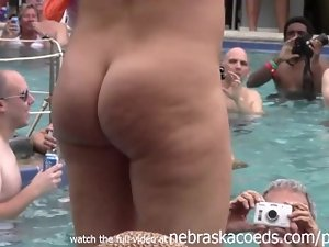 crazy housewifes stripping down nude in pool lewd body strip contest