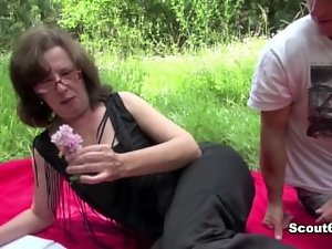 German Mum caught outdoor and fuck by 19 years old young man