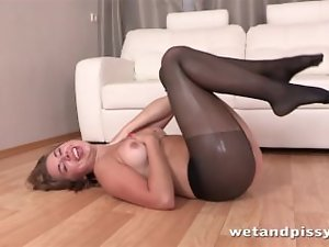 Bombshell gets off with pissing fun and adult toys
