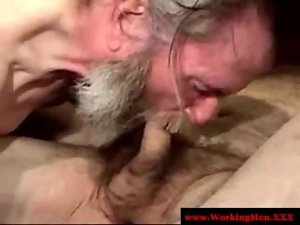 Obscene ex convict is licking penis