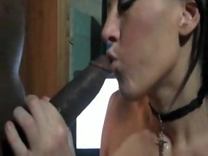 Dark haired Skank Swallows BBC Load