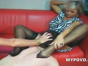 Two light-haired experienced slutty chicks treat chap like slave