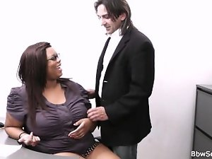 Married boss cheating with heavy lustful ebony secretary