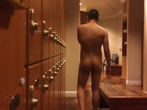 Locker Room: Nude Chap Caught Tugging His Prick