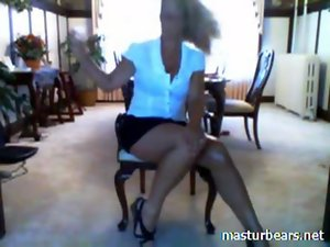 Dutch Mommy Jacqueline toying in living room