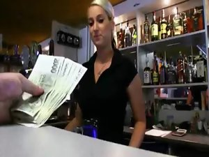 Gorgeous barmaid Lenka rammed and jizzed on hooters by stranger