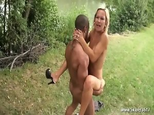 Blond attractive mature Angelique grinded outside