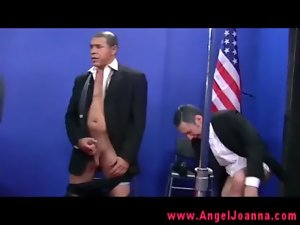Tattooed gothic gal gets fucked by the vice president