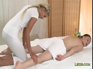 Dark haired gets feet and hooters massage