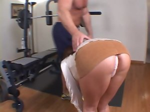 Attractive dark haired with a awesome rack screwed up the butt in the gym