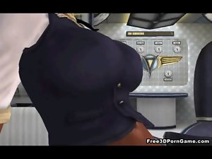 Tasty 3D cartoon filthy ebony stewardess getting banged
