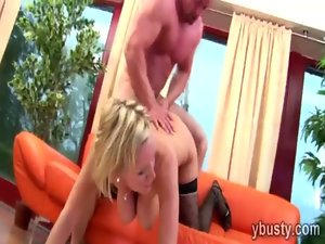 Charming blond with massive natural jugs gets tongued and pumped
