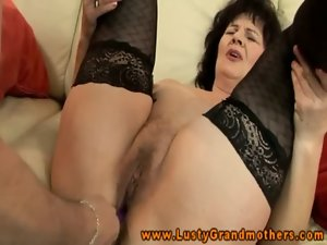 Amateur GILF in stockings very hairy clit rubbed with toys and fingered