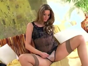 Shaven muff thigh high stockings and panties