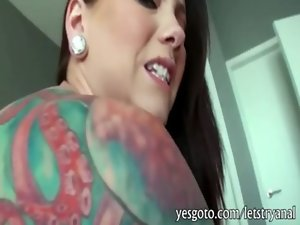 Huge hooters amateur tattooed gf Ashton Pierce butthole tryout