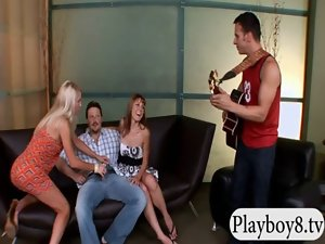 Two tense lasses wityh little tiny breasts loving foursome play