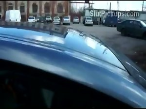 Point of view film of nice looking amateur vixen getting screwed doggystyle in car