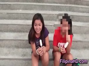 gaunt innocent Filipina lady strokes phallus