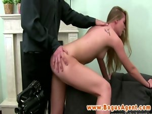 Audition casting with blond licking prick