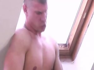 Hunky muscular stud randy pecker drooling
