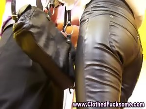 Clothed glamour models suck pecker