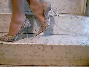 Tan Pantyhose Luscious Stiletto High Heels Fuck Me Pumps Stairs