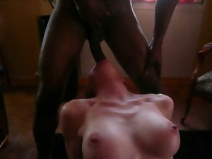 French bigtit lets bbc throatfuck her and jizz on her body.