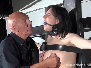 Gagged slave Honesty Cabelleros erotic domination and nipple